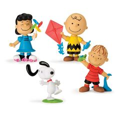 """The gang is back together! Set features Charlie Brown, Snoopy, Linus and Lucy. Each, approx. 3"""" tall. Ages 3 and up. Plastic. Imported.Warning: Choking Hazard. Toy contains small parts! Not for children under 3 years.©2015 Peanuts Worldwide LLC"""