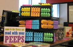 Come to the Library and Read with your PEEPS! Book display at South East Junior High Library in Iowa City, Iowa.