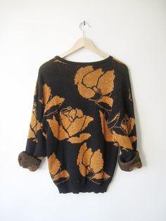 Vintage Metallic Black & Orange Rose sweater