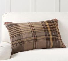 """You can't miss this unpretentious plaid, resplendent with an unexpected mix of seasonal colors. The yarn-dyed fabric feels soft and lived-in, giving it casual style that's effortlessly chic. Made of yarn-dyed 100% cotton. Reverses to solid. Zipper closure. Pottery Barn is a proud member of the Better Cotton Initiative click here. Our cotton products support more sustainable cotton farming. To learn more about our environmental commitment click here. Accommodates a 16"""" x 26"""" insert; sold separate Lumbar Pillow, Throw Pillows, Cozy Patio, Coffee Colour, Mirror Art, Pottery Barn, Decorative Pillows, Pillow Covers, Floral Prints"""