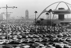 LAX Airport during the 1960's with a view of the landmark Theme Building.