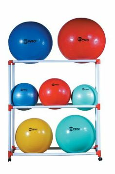 Champion Sports Ball Storage Cart by Champion Sports. $123.99. The Champion Sports Exercise Ball Storage Cart is a space saving, handy tool that is great for home or professional gym use. Featuring 4 heavy-duty swivel casters and wheels for easy movement, youll be able to move or store up to 9 exercise balls. So, stop storing that ball under your coffee table, or taking up tons of space with all of those exercise balls, and get a clean, organized, and compact storage sy...