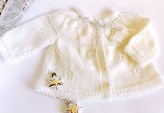 Hand knitted white baby vest with a beautiful plate of leaves, baby fashion, Christening /Baptism, READY TO SHIP. $42.00, via Etsy.