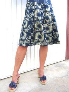 Blue and Cream skirt, Aline, knee length, summer dress, african wax print, womens, Gypsy, Boho style