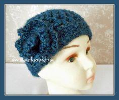 Girls Crochet Hat Soft Warm Dark Teal Blue Cloche Kids Beanie Flower Accent  Handmade in USA c22065107983