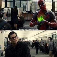 Hilarious #StPatricksDay post from @mutant101 ! #Deadpool #Superman #ClarkKent #DailyPlanet #Kryptonite #HappyStPatricksDay #StPatricksDay2016 #GoGreen #Irish #Ireland #RyanReynolds #HenryCavill