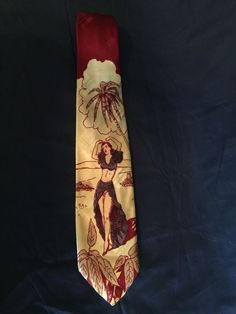 Vintage 1930/40's Men's Swing Cravat Necktie w/Dancing Lady #NeckTie