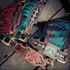 Fringe Halters www.grahamequine.com. This gal makes the BEST custom leather work I've ever seen! Gorgeous craftsmanship, and based in Kansas to boot! Cowgirl And Horse, My Horse, Horse Tack, Horses, Tooled Leather, Leather Tooling, Tack Sets, Headstall, Custom Leather