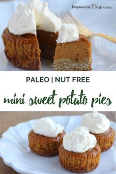 Paleo sweet potato pie filling is poured over an easysqueazy crust and baked in a muffin pan to create mini pies Half the prep time and baking time of a regular pie Paleo. Paleo Dessert, Healthy Dessert Recipes, Gluten Free Desserts, Dairy Free Recipes, Paleo Recipes, Baking Recipes, Real Food Recipes, Healthy Baking, Sweet Potato Pie Filling