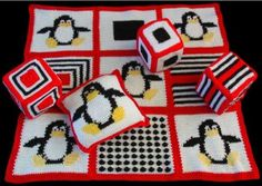 Crochet toys and afghans make a durable and soft project that you know your child will love to play with. The Penguin Blanket and Toy Set Pattern is sure to be a winner with fun designs and bright colors. The high contrast of colors in the Penguin Afghan, Blocks and Pillow will capture and hold any new baby's attention, encouraging visual development as well as physical activity, like wiggling, kicking, and arm waving.