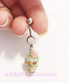 14g Sparkle Gold Skull Belly Button Ring