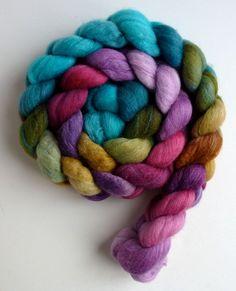 Polwarth/Silk Roving  Handpainted Spinning or by threewatersfarm, $22.95, Radicchio