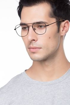 bce70751b064 Black Aviator Prescription Eyeglasses-Large Full-Rim Metal Eyewear-Captain