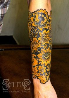 I WANT THIS NOW!!!! but either blue or red!!!! flowers tattoo black gold yellow artistic