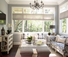 I know I've pinned this before, but I LOVE the colors and the fabrics. Wall color is BM Wickham gray.