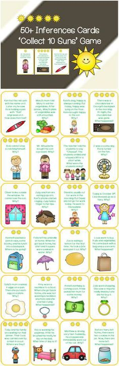 Inferences Card Game - Collect 10 Sun& Maybe same concept but with different cards, subjects, etc. Speech Activities, Language Activities, Classroom Activities, Comprehension Strategies, Reading Strategies, Reading Comprehension, Speech Language Pathology, Speech And Language, Language Arts
