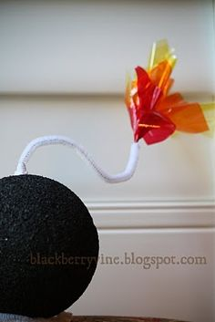 training: spy party bomb idea (styrofoam/cellophane/pipe cleaner) for spy training (toss the bomb into a basket)