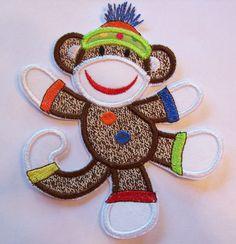 Iron On Applique  Sock Monkey Harold by bigblackdogdesigns on Etsy, $5.50