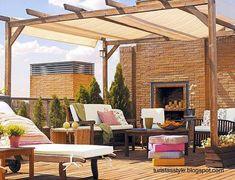 Terraza moderna equipada con mobiliario