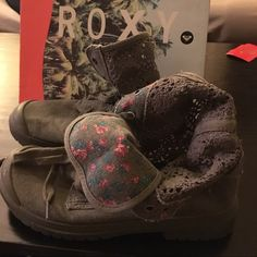Rocky combat-style lace boots Hardly worn boots! Grey with lace details. Perfect for spring! Roxy Shoes Combat & Moto Boots