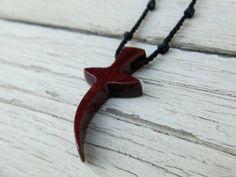 Handmade Wooden Cross Necklace in Brazilian Purpleheart by TheLotusShop, $16.95