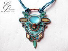 Editgyöngyei: február 2017 Soutache Jewelry, Shibori, Turquoise Necklace, Pendant Necklace, Etsy, Rocks, Felting, Fimo, Drop Necklace