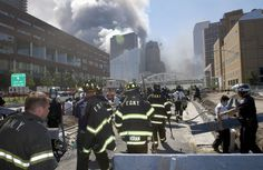 Firefighters heading towards Ground Zero on September 11, 2001