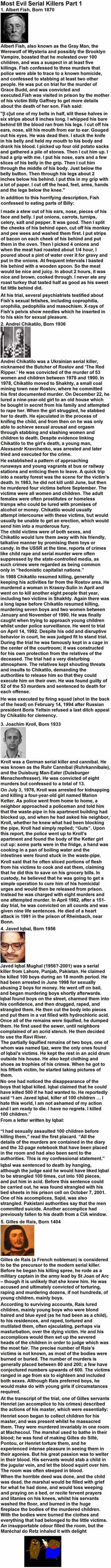 Most Evil Serial Killers Part 1 Scary Creepy Stories, Creepy Facts, Strange History, History Facts, Art History, True Crime, Famous Serial Killers, Natural Born Killers, Cereal Killer
