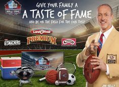 Win a $10,000.00 4-night trip for 4 to Canton, OH from August 2-6, 2018 for the 2018 Pro Football Hall of Fame Game; rental car to/from Hall of Fame plus one parking pass per day; 4 Gold Jacket Dinner Tickets; 4 Concert for Legends tickets; 4...