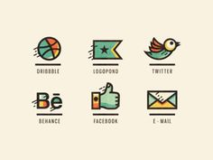 Adline icons (Retouched) by Szende Brassai  vertical layout. icon + line + name