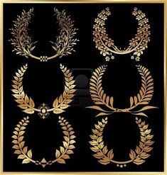 Golden laurel wreaths - Set
