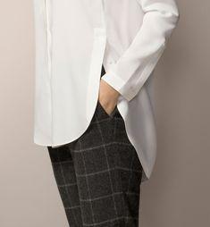 BLUSÓN VESTIR BOTONES LATERALES - Blancas - Camisas y Blusas - WOMEN - España - Massimo Dutti