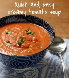 Quick and easy creamy tomato soup with fresh basil, sounds wonderful!  {vegetarian, gluten-free} [ThePerfectPantry.com]