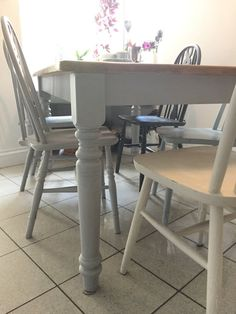 Kitchen Dining Table, Painted Pine Grey, Removable Legs, seats six Pine Table And Chairs, Dining Table In Kitchen, Painted Furniture, Bar Stools, Kitchen Ideas, Legs, Grey, House, Home Decor