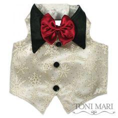 Snowflakes Dog Tuxedo Vest - Toni Mari - Dog Harness Vests