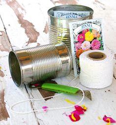HOMEWARDfound Decor: Tutorial: May Day tin can flower baskets