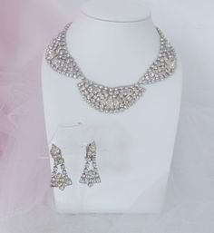 Vintage Rhinestone Jewelry Set Demi Parure Bridal Formal Jewelry Bib Necklace