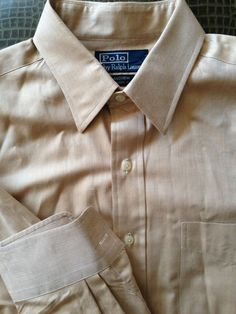 Men Polo Ralph Lauren Andrew Classic Fit Brown White Herringbone Large 16 Shirt  #RalphLauren #ButtonFront
