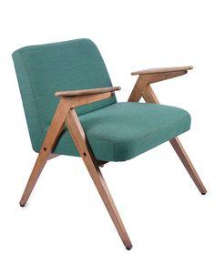 Fotel typ 300-177, tzw. bunny Dolnośląska Fabryka Mebli w Świebodzicach, l. 60. XX w. po renowacji, drewno, obicie z tkaniny; wys. 70,5 cm, szer. 64 cm Estymacja: 700 - 800 zł
