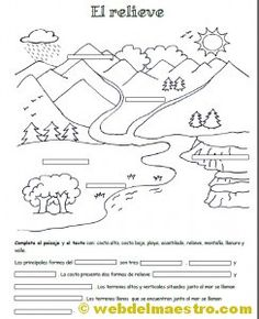 dibujos tipos de paisaje - Buscar con Google Geography Worksheets, Geography Lessons, Science Worksheets, Science Lessons, Spanish Teaching Resources, Teachers Corner, Social Science, Life Cycles, Social Studies