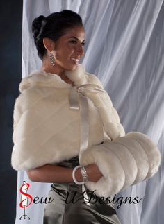 Faux Fur Capelet and Super Size Muff set Winter Wedding Cape Available in White, Ivory, Cream or Black Grooved Faux Fur