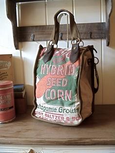 Paltzer Seed Corn- Appleton, Wisconsin - Americana OOAK Canvas & Leather Tote. $125.00 USD, via Etsy.