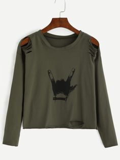 Shop Army Green Gesture Print Distressed T-shirt online. SheIn offers Army Green Gesture Print Distressed T-shirt & more to fit your fashionable needs.