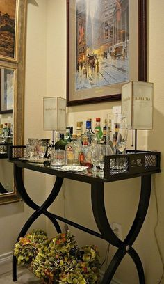"""Figure out additional info on """"gold bar cart styling"""". Visit our website., Home coffee stations, Alcohol Bar, Alcohol Bottles, Liquor Bottles, Bar Console, Console Tables, Cheers, Home Coffee Stations, Beverage Stations, Gold Bar Cart"""