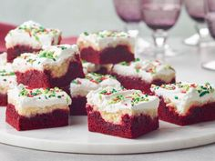 Red Velvet Ooey Gooey Bars by Food Network Kitchen Best Christmas Cookies, Holiday Cookies, Christmas Baking, Christmas Cupcakes, Holiday Baking, Ooey Gooey Bars, Gooey Cake, Cookie Recipes, Dessert Recipes