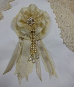 Ivory Lace Flower Pin or Hair Clip from Old Lace, Silk and Faux Pearls Vintage Inspired Bridal Flower Ready to Ship