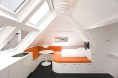 30 Square Meters Apartment Design Ideas – This post about apartment design. 30 square meters attic apartment design includes a living and sleeping space Micro Apartment, Small Apartment Design, Attic Apartment, Small Apartment Decorating, Attic Rooms, Attic Spaces, Tiny Spaces, Apartment Layout, Apartment Therapy