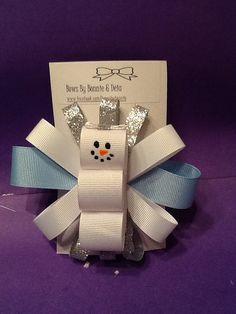 Snowman hair bow made by Bonnie &Deia on Etsy, $4.00