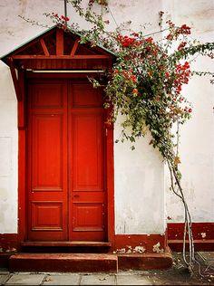 beautiful red door