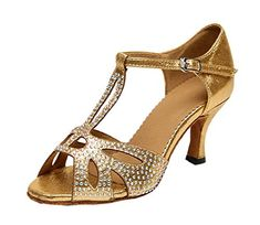 TDA Womens TStrap Cutout Crystals Gold Synthetic Salsa Tango Ballroom Latin Modern Dance Wedding Shoes 10 M US >>> Click image to review more details.